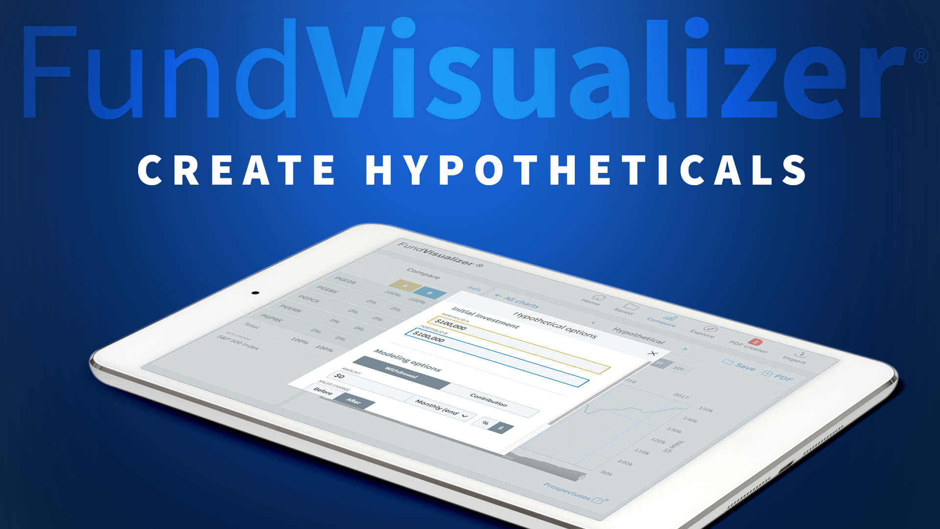 Create hypotheticals with FundVisualizer